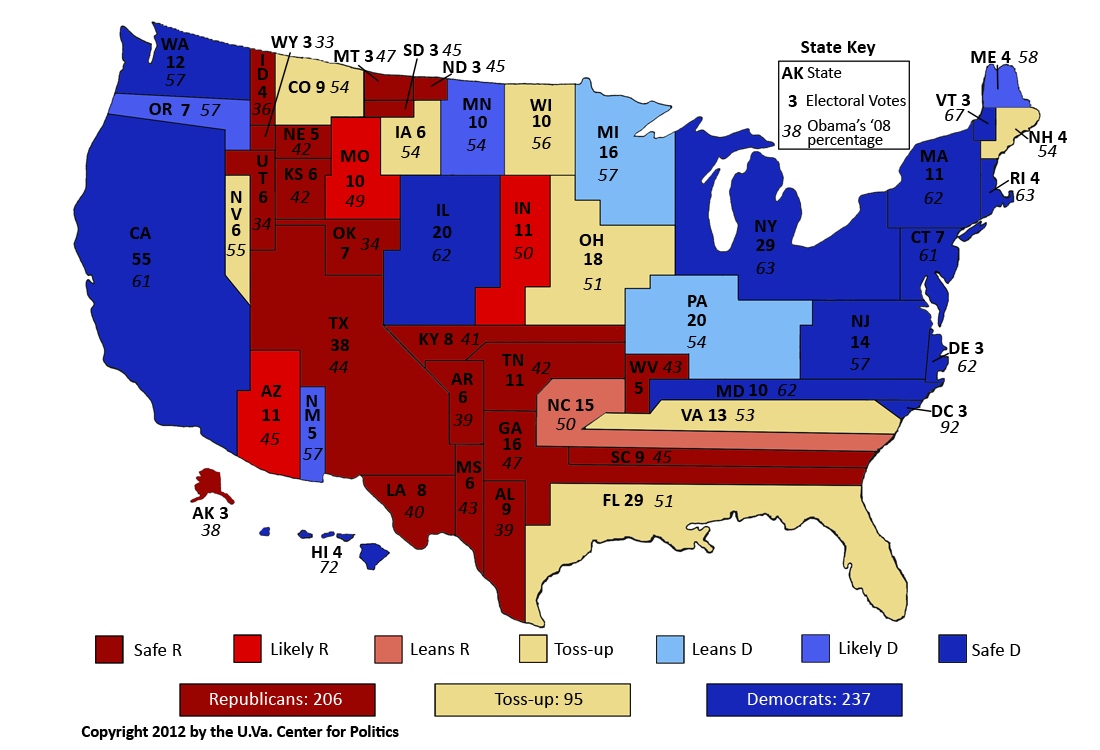 Current Political Map Of Us Mapping the United States, Politically Speaking – Sabato's Crystal